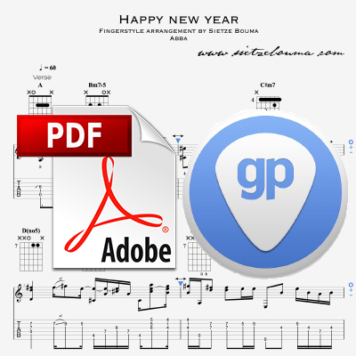 Happy New Year (Abba) acoustic fingerstyle arrangement (PDF + Guitar Pro)
