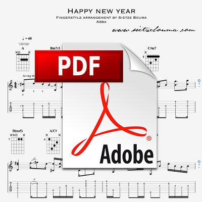 Happy New Year (Abba) acoustic fingerstyle arrangement (PDF)