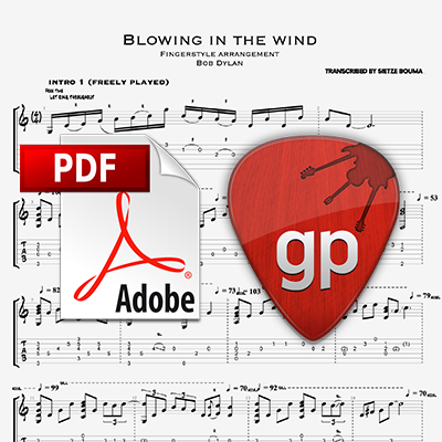 Blowing in the wind (Bob Dylan) acoustic fingerstyle arrangement (PDF + Guitar Pro)